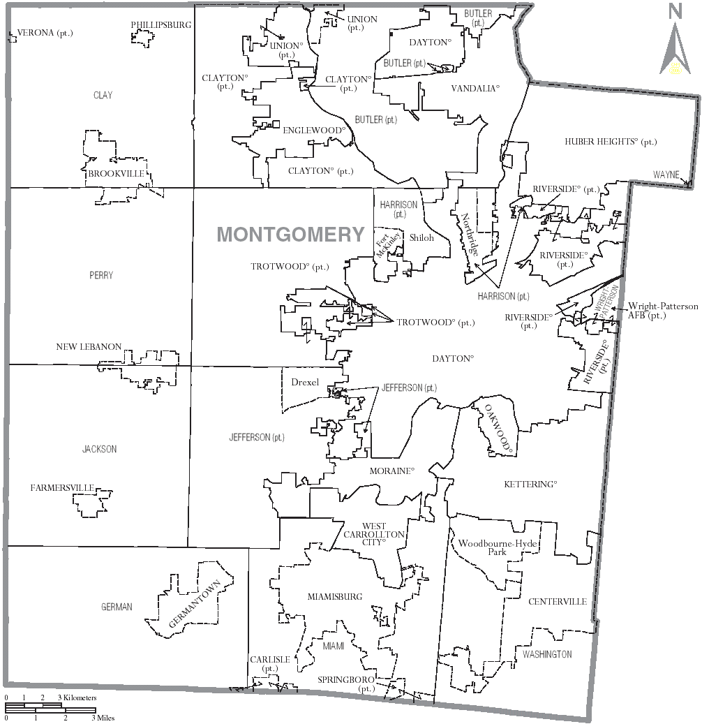 FileMap of Montgomery County Ohio With Municipal and Township