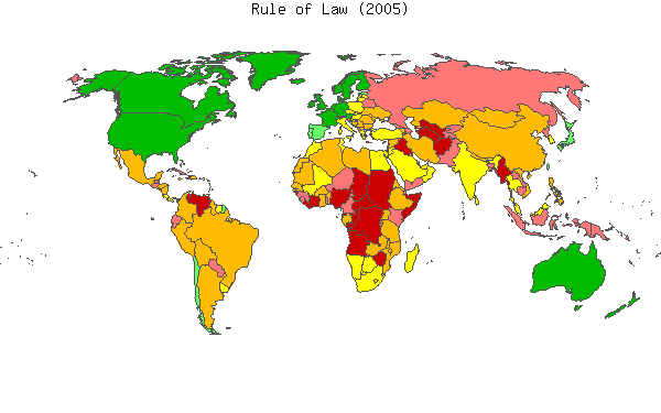 2005 map of Worldwide Governance Indicators, which attempts to measure the extent to which agents have confidence in and abide by the rules of society.  .mw-parser-output .legend{page-break-inside:avoid;break-inside:avoid-column}.mw-parser-output .legend-color{display:inline-block;min-width:1.25em;height:1.25em;line-height:1.25;margin:1px 0;text-align:center;border:1px solid black;background-color:transparent;color:black}.mw-parser-output .legend-text{}  90–100th percentile*   75–90th percentile   50–75th percentile   25–50th percentile   10–25th percentile   0–10th percentile  * Percentile rank indicates the percentage of countries worldwide that rate below the selected country.