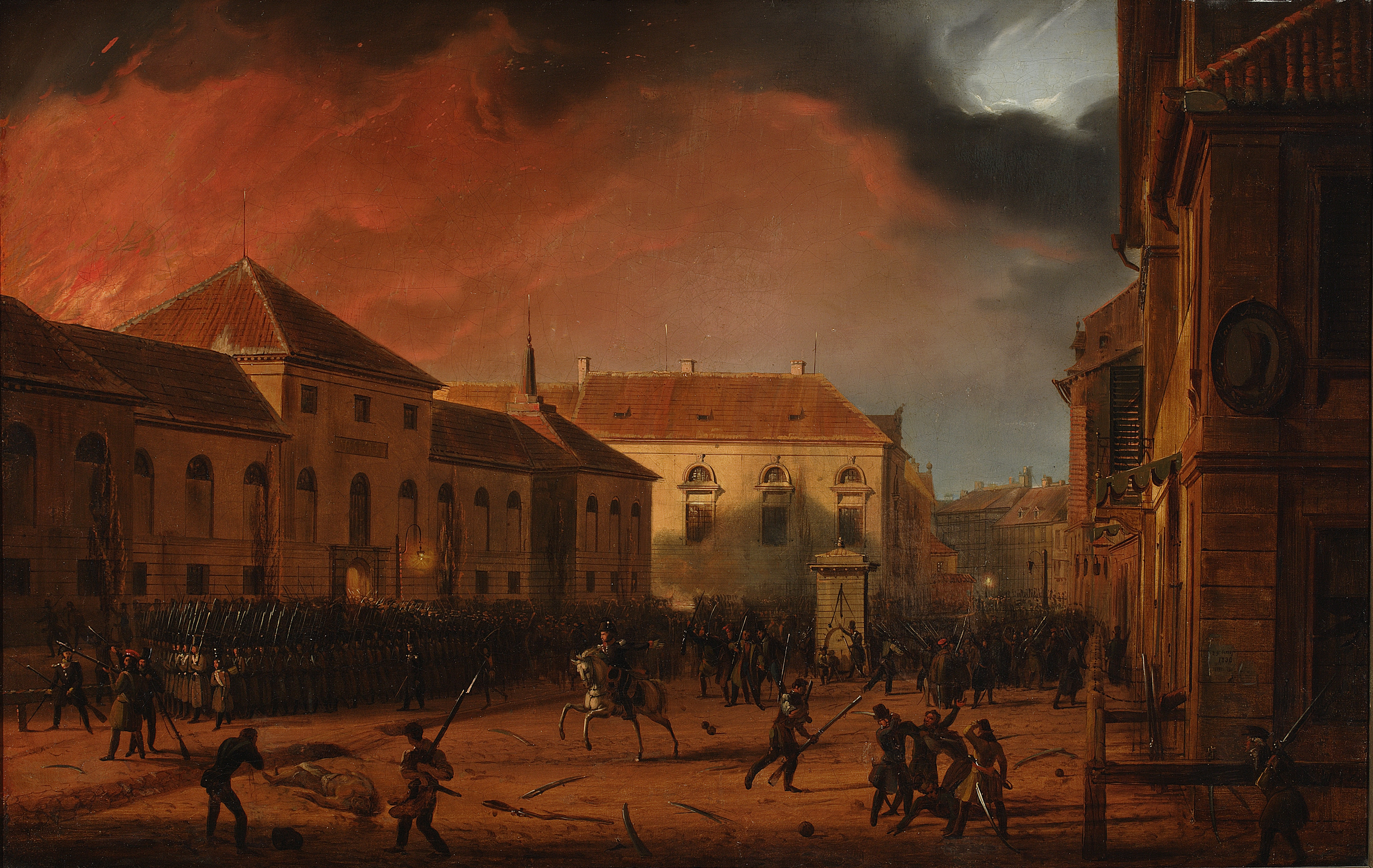 La toma del arsenal de Varsovia, uno de los primeros sucesos del Levantamiento de Noviembre.