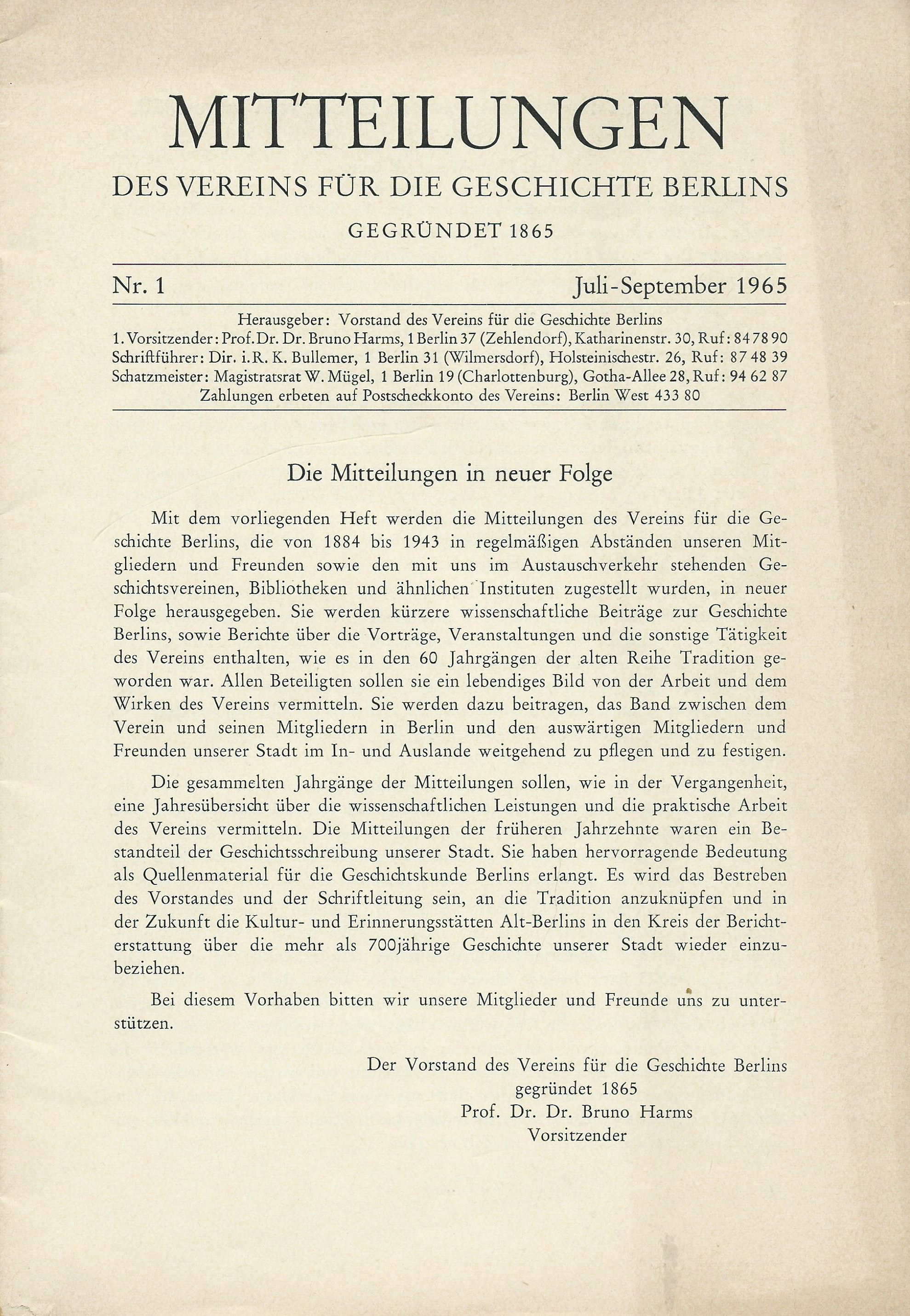 Dateimitteilungen Des Vereins Für Die Geschichte Berlins Deckblatt