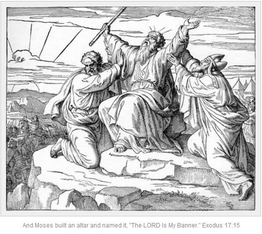 File:Moses holding up his arms during the Battle of Rephidim, assisted by Hur and Aaron.jpg