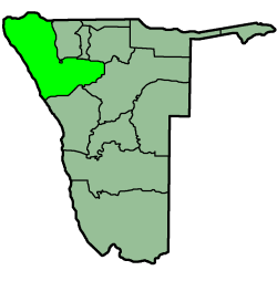 Location of the Kunene Region in Namibia