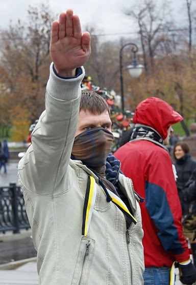 Neo-Nazism in Russia: The photograph was taken at an anti-gay demonstration in Moscow in October 2010