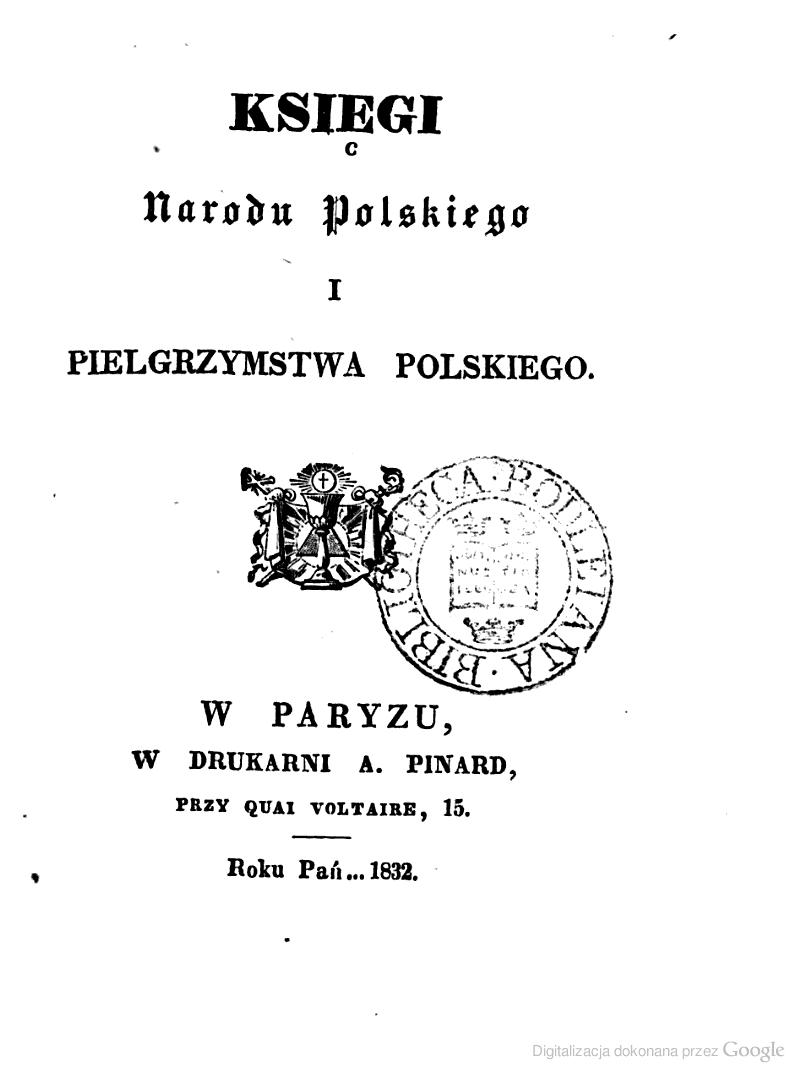 Księgi Narodu Polskiego I Pielgrzymstwa Polskiego