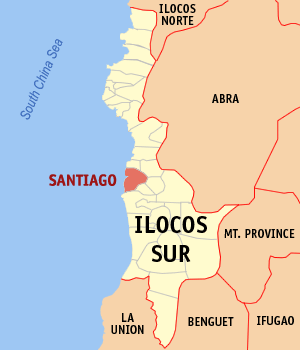 Map of Ilocos Sur showing the location of Santiago