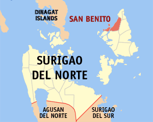 Map of Surigao del Norte showing the location of San Benito