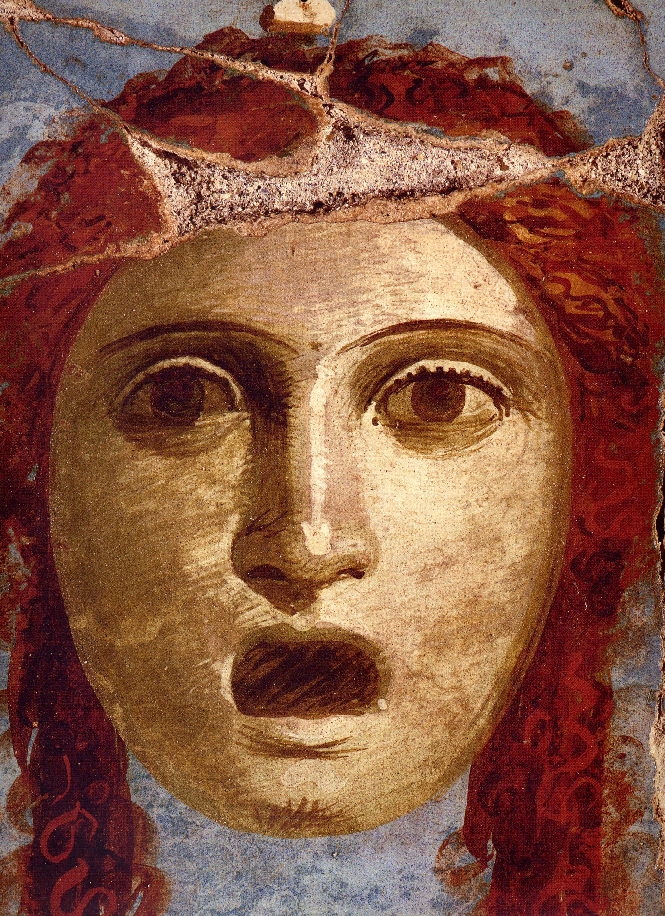 Fresco of a Theater Mask of a Woman from Pompeii
