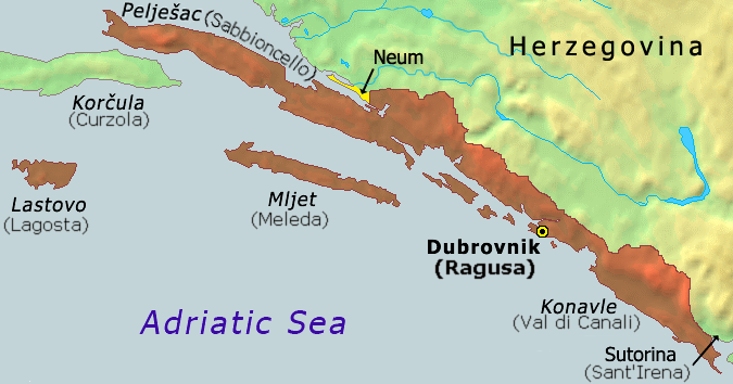 "Borders of the Republic of Ragusa, from 1426 (encompassing also the area labelled ""Neum"" until 1718)"
