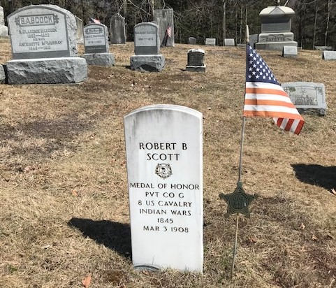 Headstone in Argyle NY's Prospect Hill Cemetery for Robert B. Scott who was honored with a U.S. Congressional Medal of Honor.