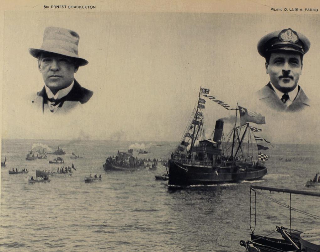Foto de la escampavía Yelcho de los rostros del Piloto Pardo y Sir Shackleton