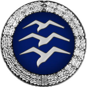 Badge: on a blue disc, silhouette of three white birds stacked in flight, the whole surrounded by a silver wreath