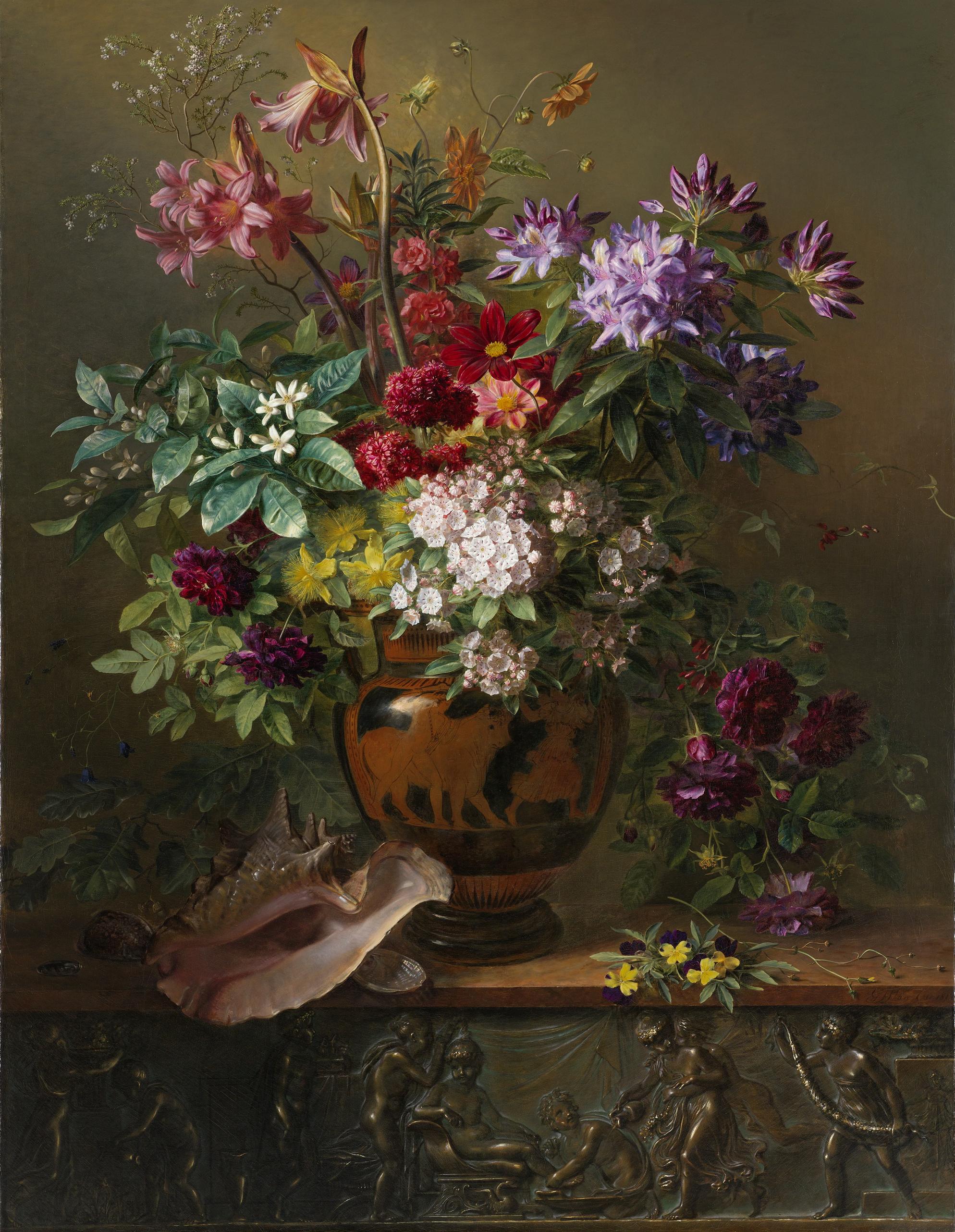 Stilleven met bloemen in een Griekse vaas; allegorie op de Lente Rijksmuseum SK A 1105 - Oude Meesters Behang