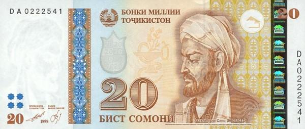 20 таджикских сомони с портретом Авиценны