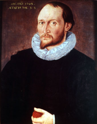 Portrait often claimed to be Thomas Harriot (1602), which hangs in [[Trinity College, Oxford]].