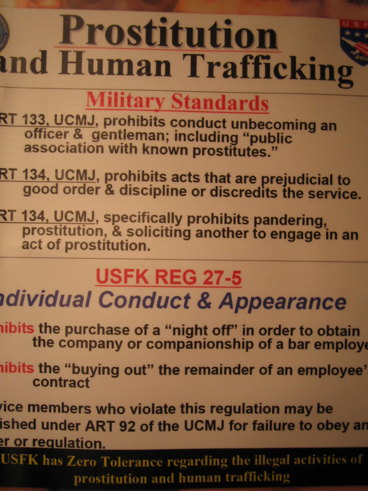 human trafficking warning of prostitution and human trafficking in south korea for g i by united states forces korea