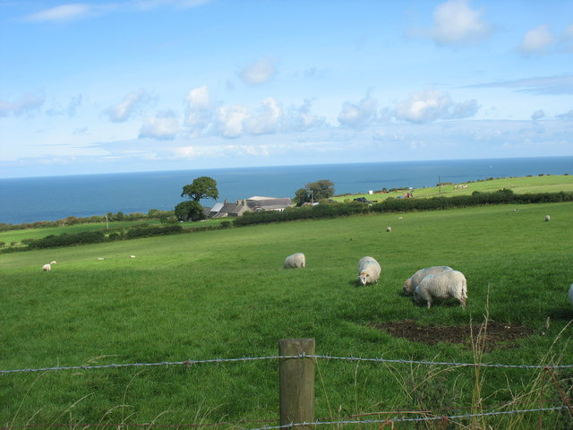 File:View across sheep pastures towards Pen-maen Farm and the Irish Sea - geograph.org.uk - 936276.jpg