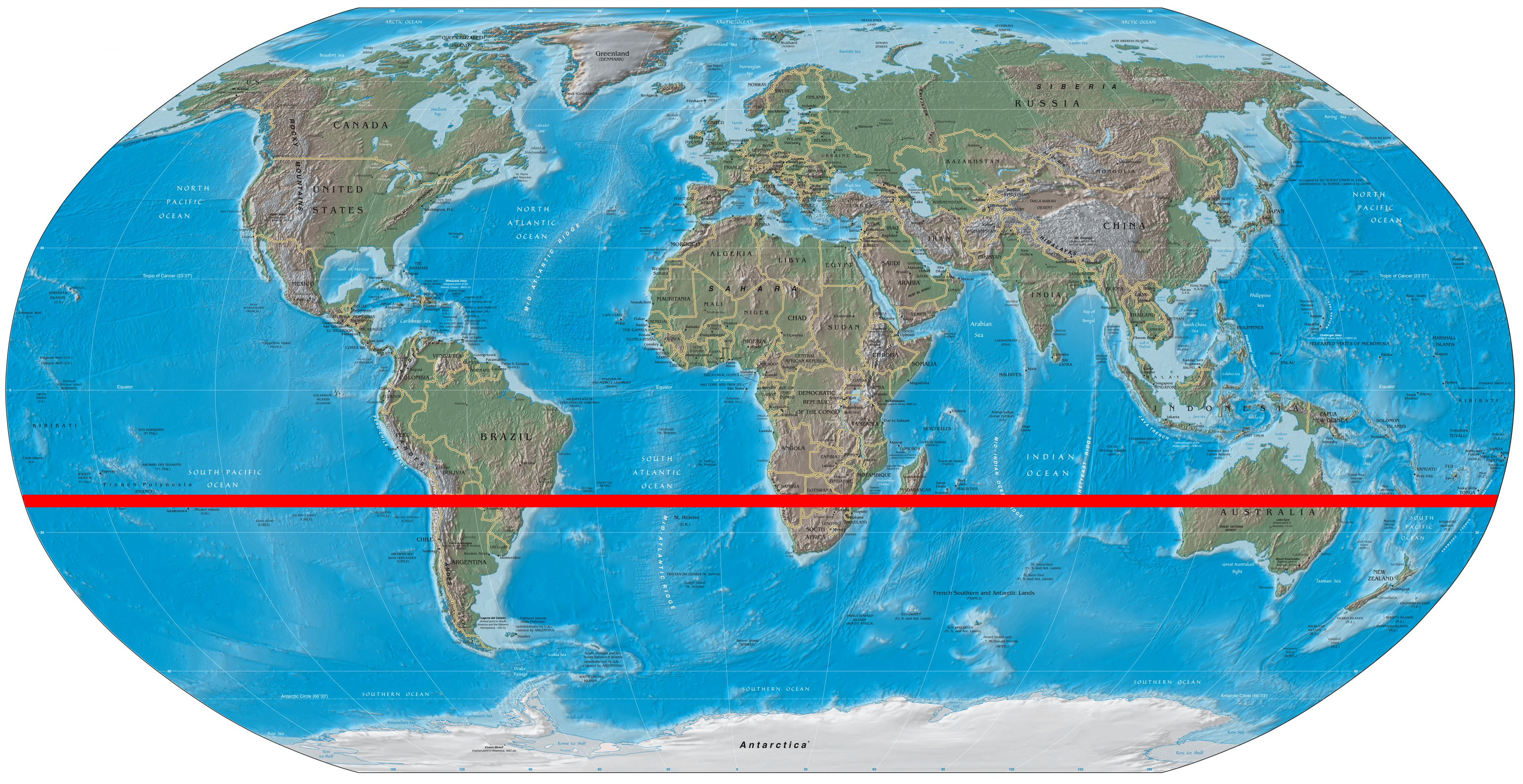 Where does the Tropic of Capricorn cross Australia