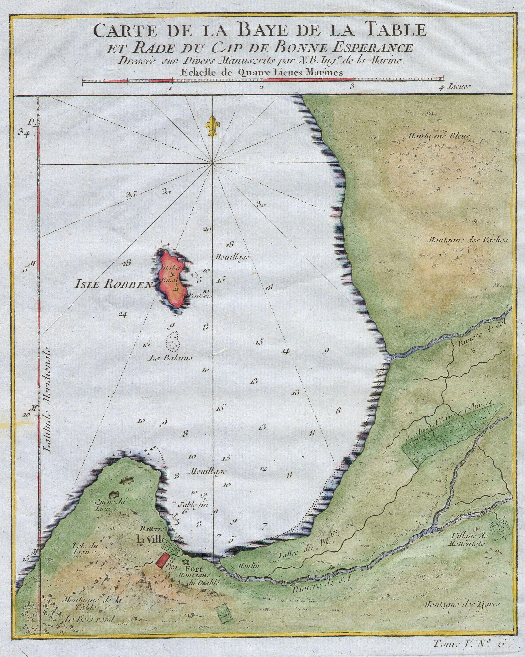 File:1763 Bellin Map of Cape Town (Cape of Good Hope) South ...
