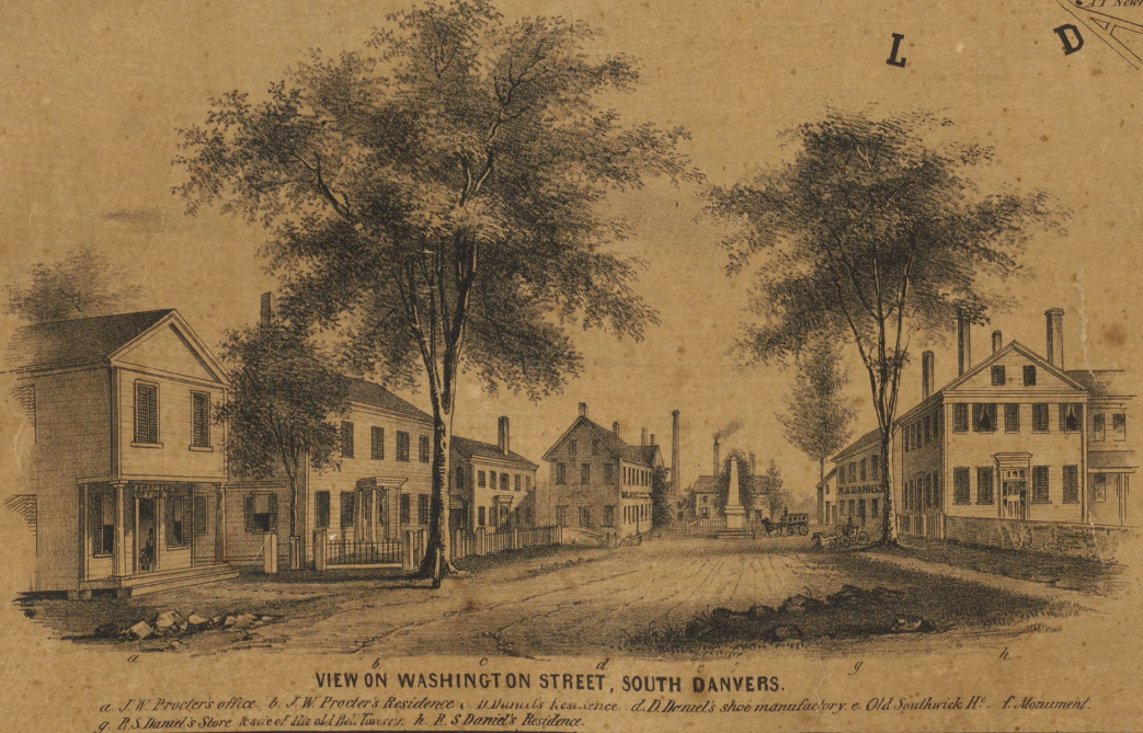 Detail of map of Danvers, Massachusetts