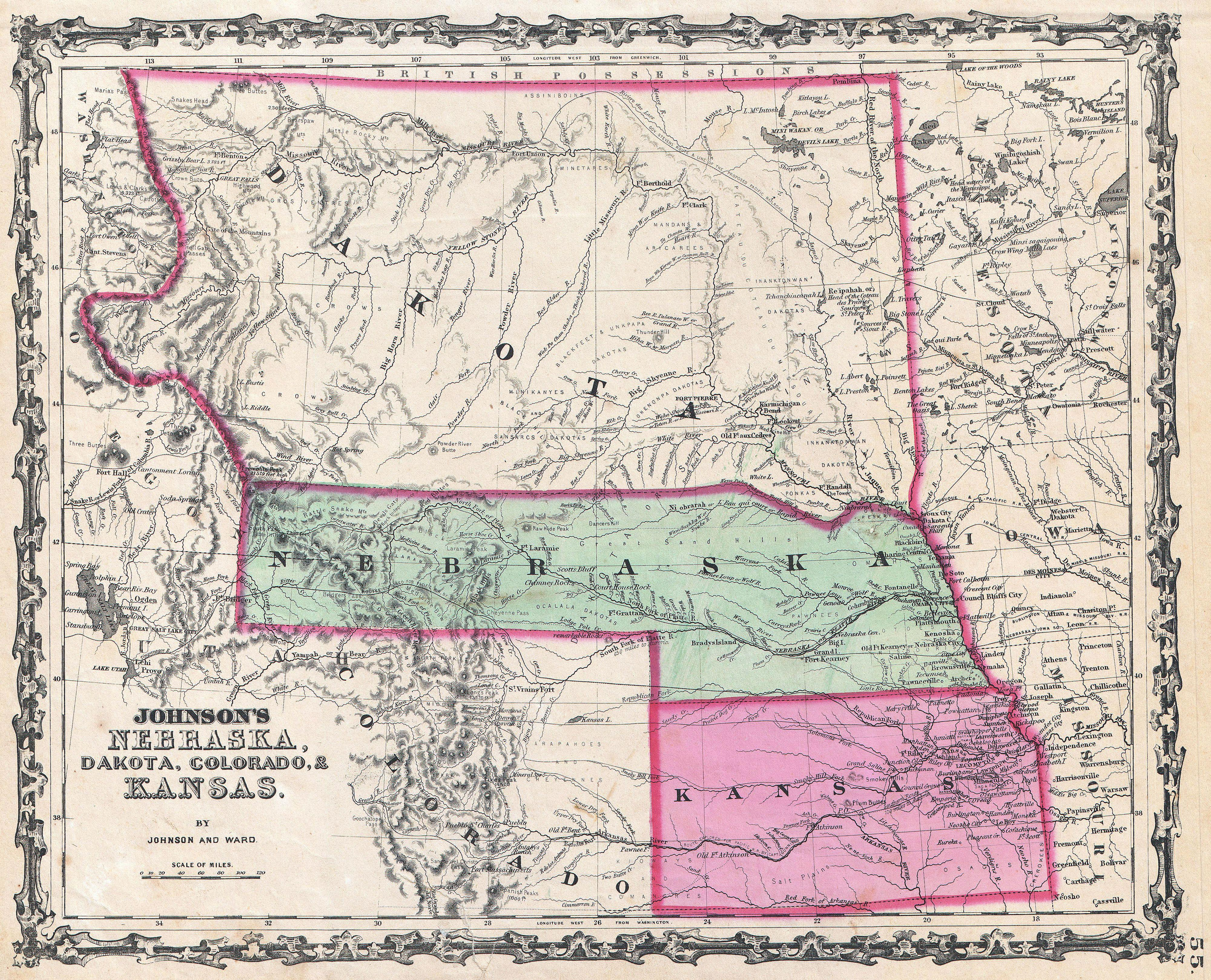map of nebraska and kansas File 1862 Johnson Map Of Kansas Nebraska And Dakota map of nebraska and kansas