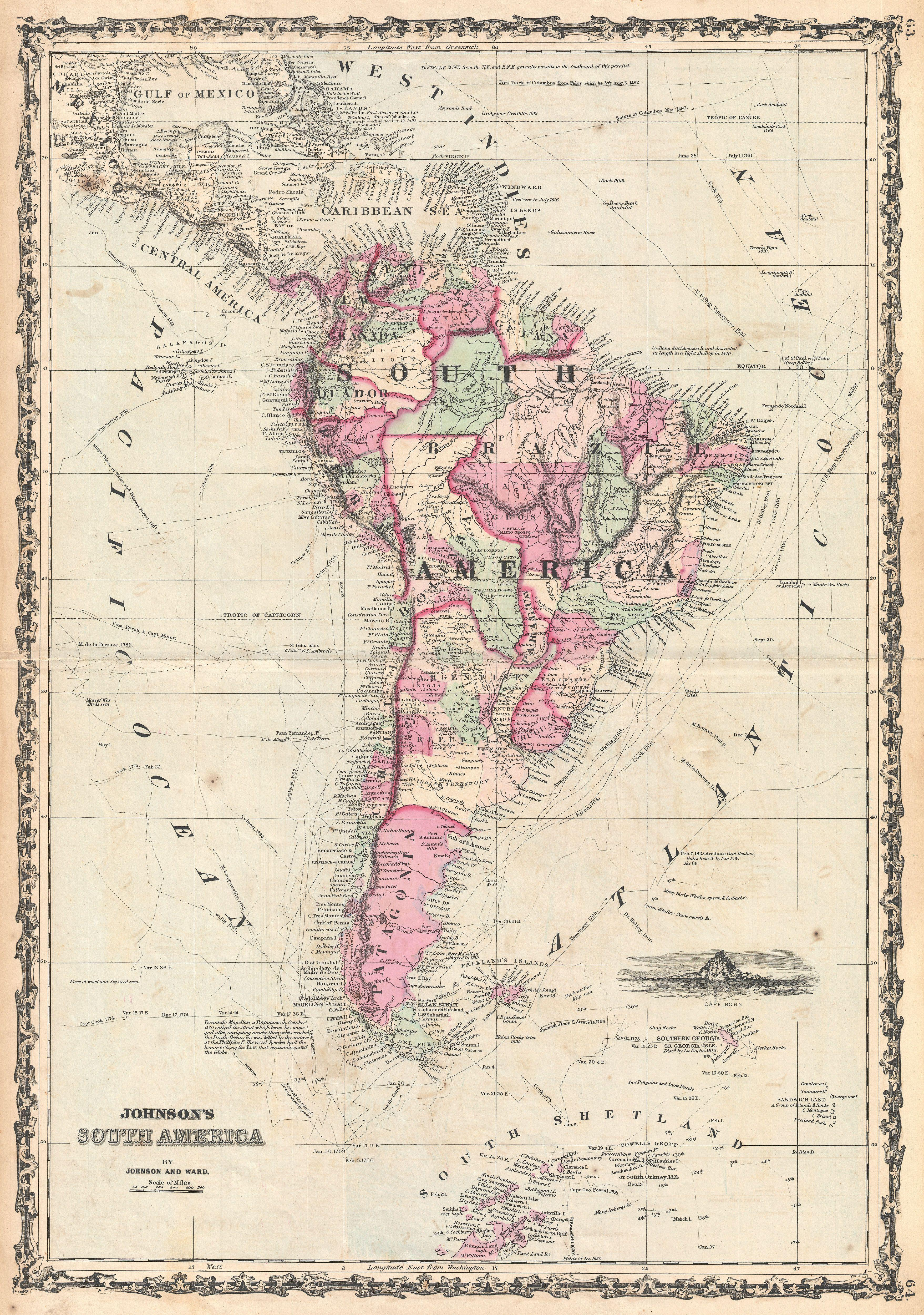File Johnson Map Of South America Geographicus SouthAmer - Map of america 1860