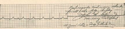 "Glenn's autographed EKG trace.Best regards and many thanksfor all the help, ""Smokey"" —John H. Glenn Jr Mercury Astronaut a good date — 20 Feb 62"
