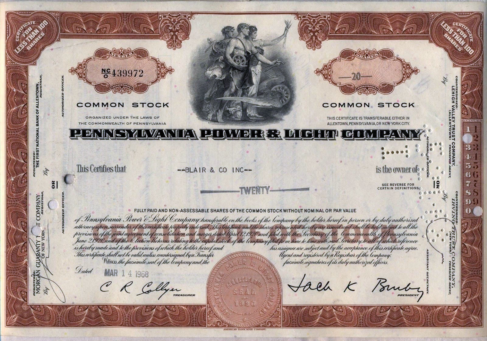 File1968 pennsylvania power light company stock certificate file1968 pennsylvania power light company stock certificate allentown pag yadclub Gallery