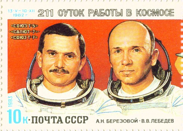 Cosmonauts A. N. Berezovoy (left) and V. V. Lebedev on a