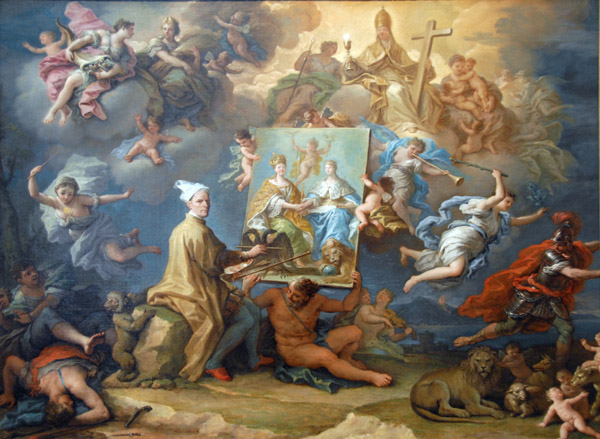 Allegory on the Treaty of Utrecht (1713) ending the War of the Spanish Succession Allegory of the Peace of 1714.jpg