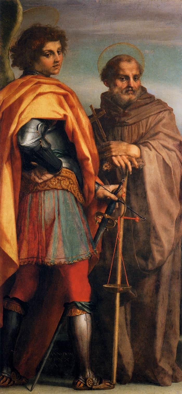 Andrea del Sarto, San Michele arcangelo e san Giovanni Gualbertoi, 1528, Galleria degli Uffizi, Firenze