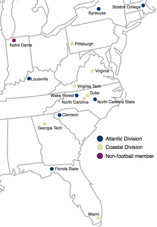 Locations of the Atlantic Coast Conference member institutions. Atlantic Coast Conference Map 2014.png