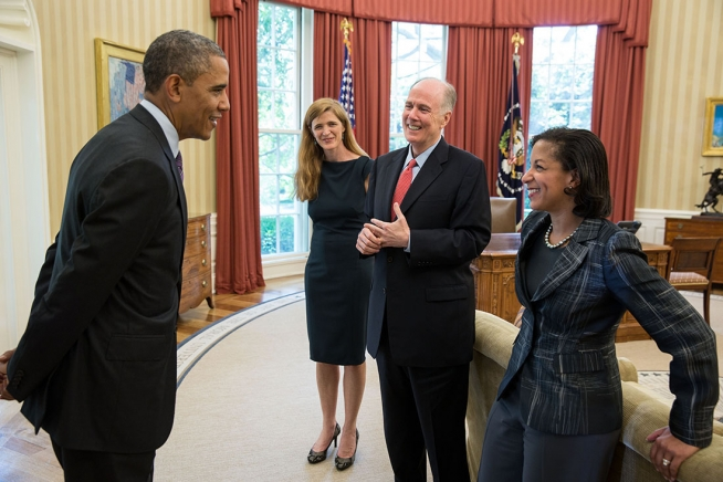 Barack Obama, Samantha Power, Tom Donilon, and Susan Rice