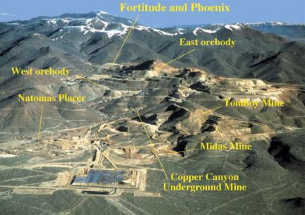 Gold and copper mines in the Battle Mountain Mining District