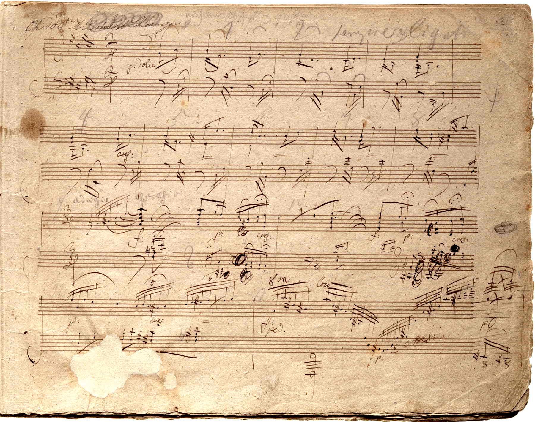 Manuscrito de la <em>Sonata para piano Op.&nbsp;109</em>.