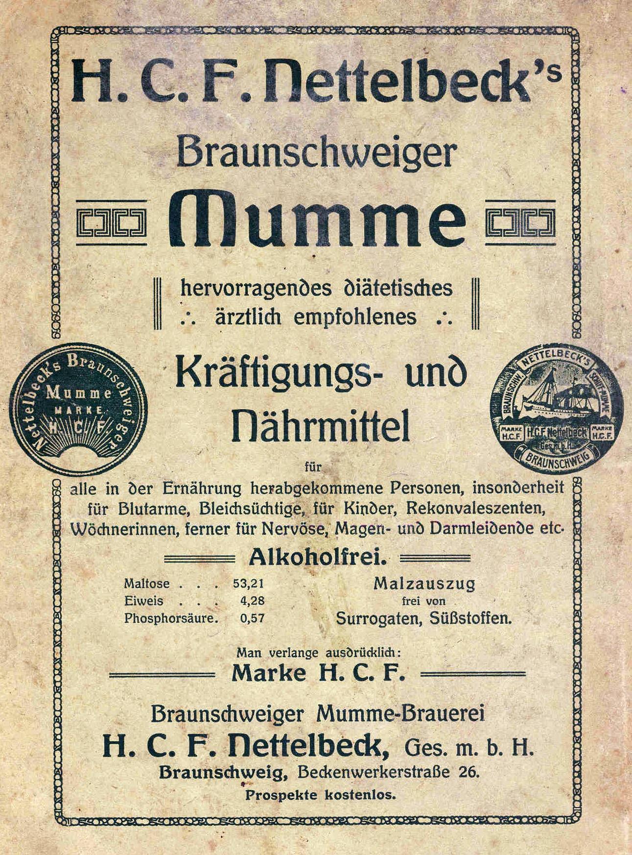 File Braunschweiger Mumme Nettelbeck Werbung 1910 Jpg Wikimedia