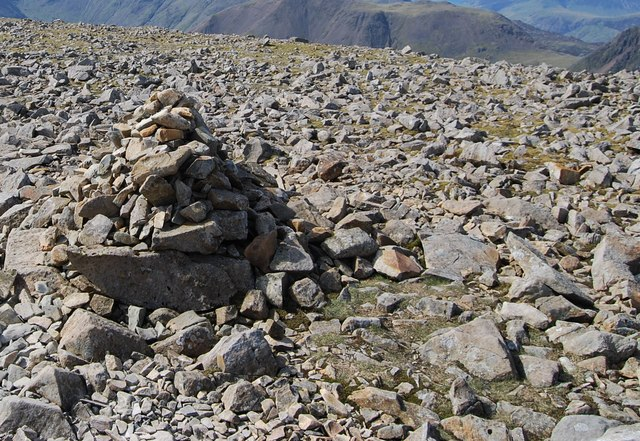 Cairn amongst a boulderfield on Scafell Pike - geograph.org.uk - 1519808