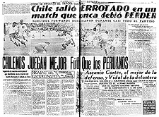 Een Chileense krant beklaagt zich over het verlies van de eerste wedstrijd tussen Chili en Peru (1935).[noot 14]