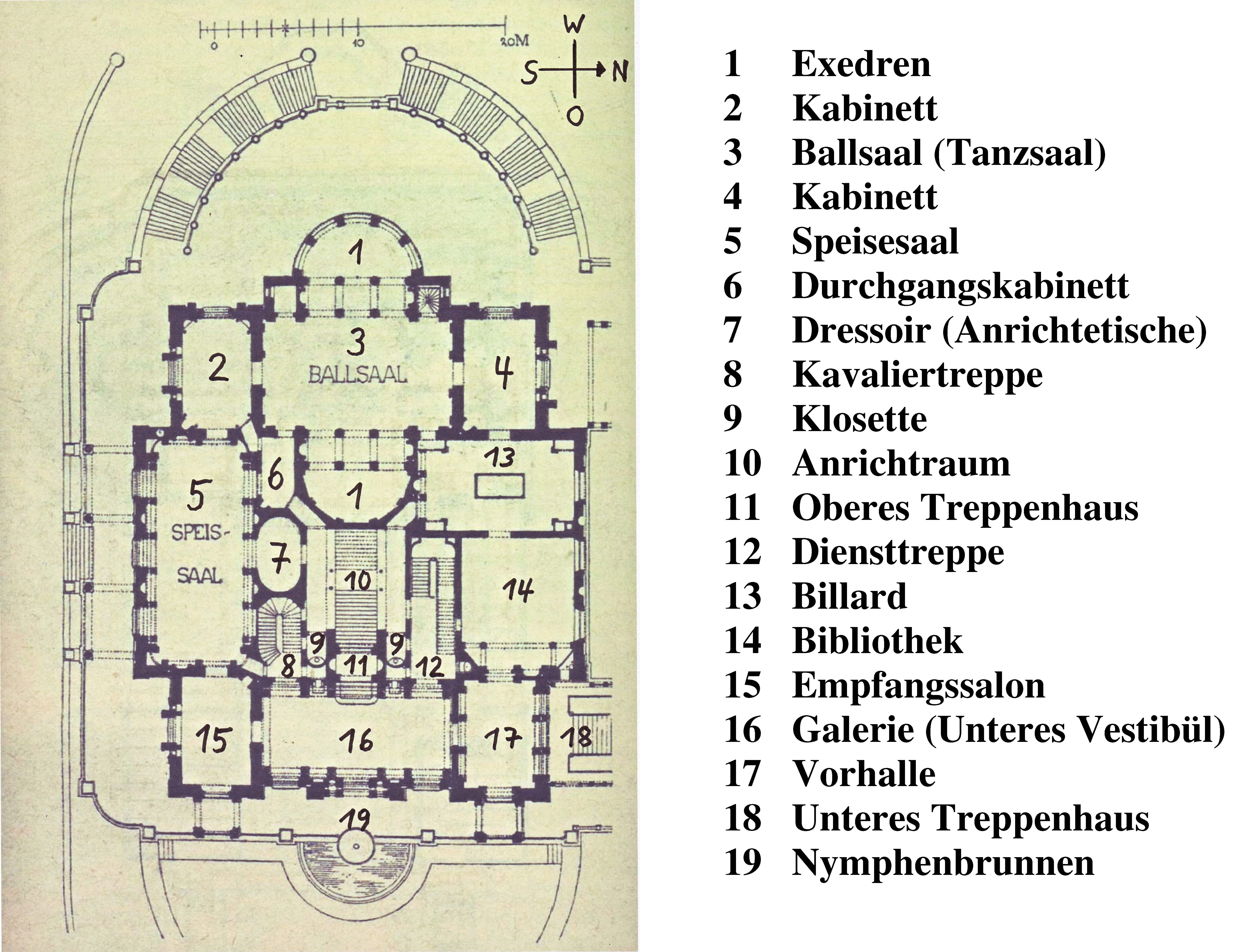 file christian friedrich von leins villa berg grundri des unteren stocks um 1845 mit. Black Bedroom Furniture Sets. Home Design Ideas