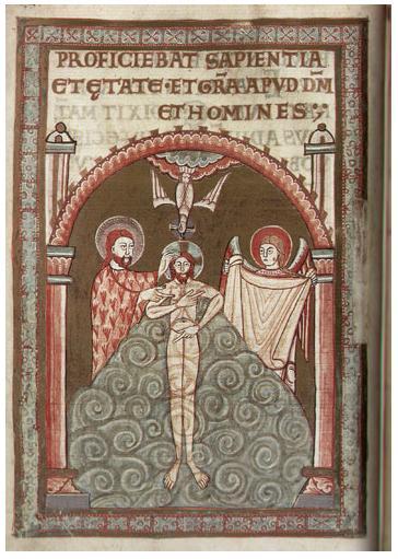 Złoty Kodeks Gnieźnieński - Codex aureus Gnesnensis. Jedna ze stron.