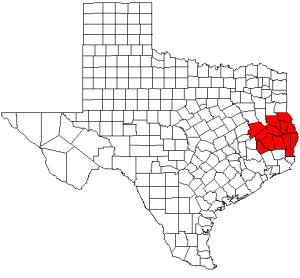 Map highlighting counties of Deep East Texas DETCOG.png