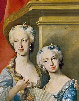 Detail of the 1743 portrait of the Family of Philip V of Spain, (María Teresa Rafaela and María Antonia Fernanda) L M van Loo.jpg