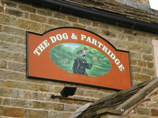 Dog and Partridge pub sign, Tosside, Lancashire