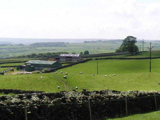 Far Laithe Farm with views towards Worth Valley - geograph.org.uk - 451964