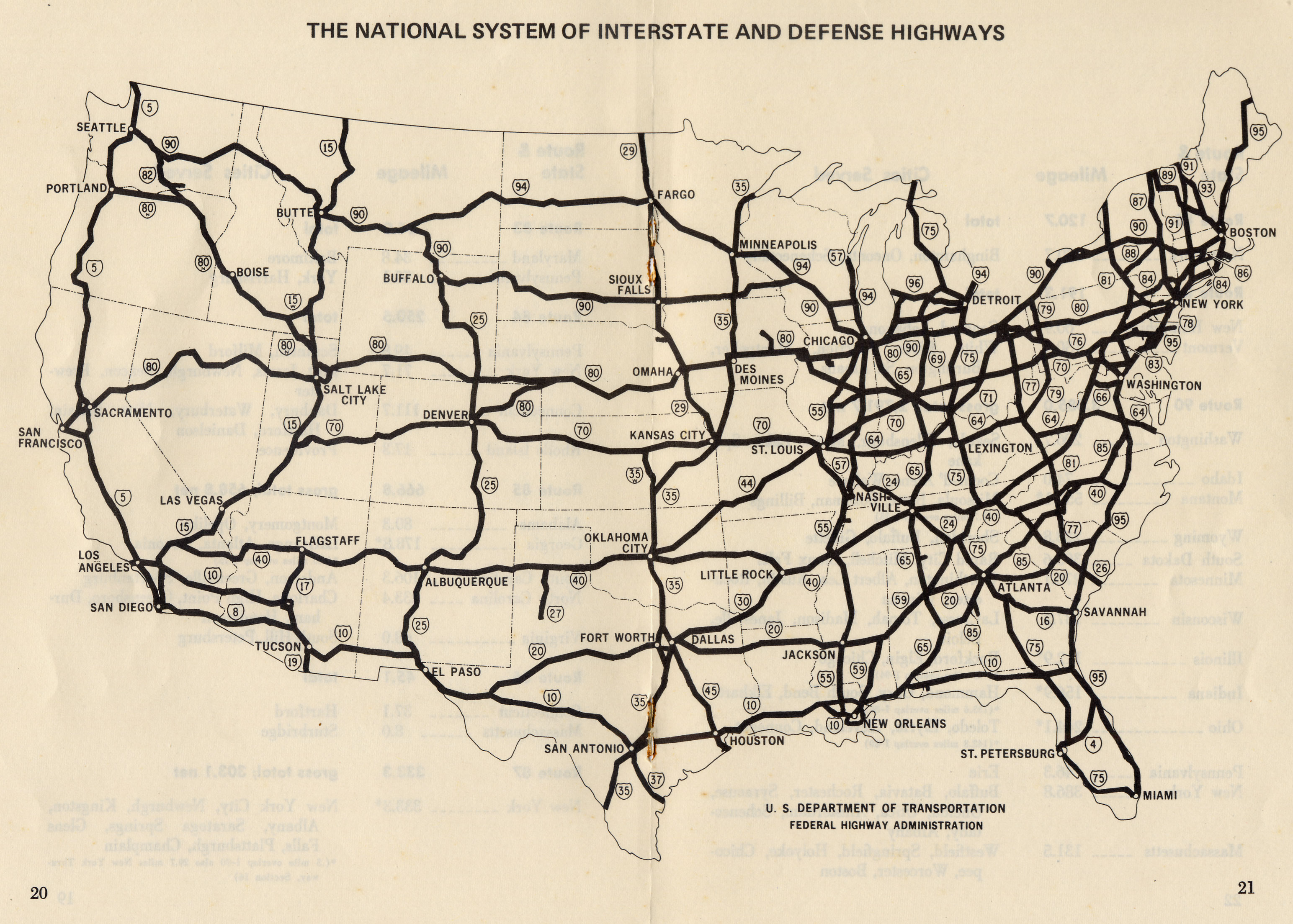 Interstate Road Map Of The United States.1940 United States Highway Map