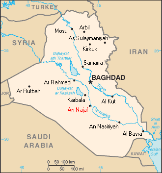 Location of Najaf, Iraq
