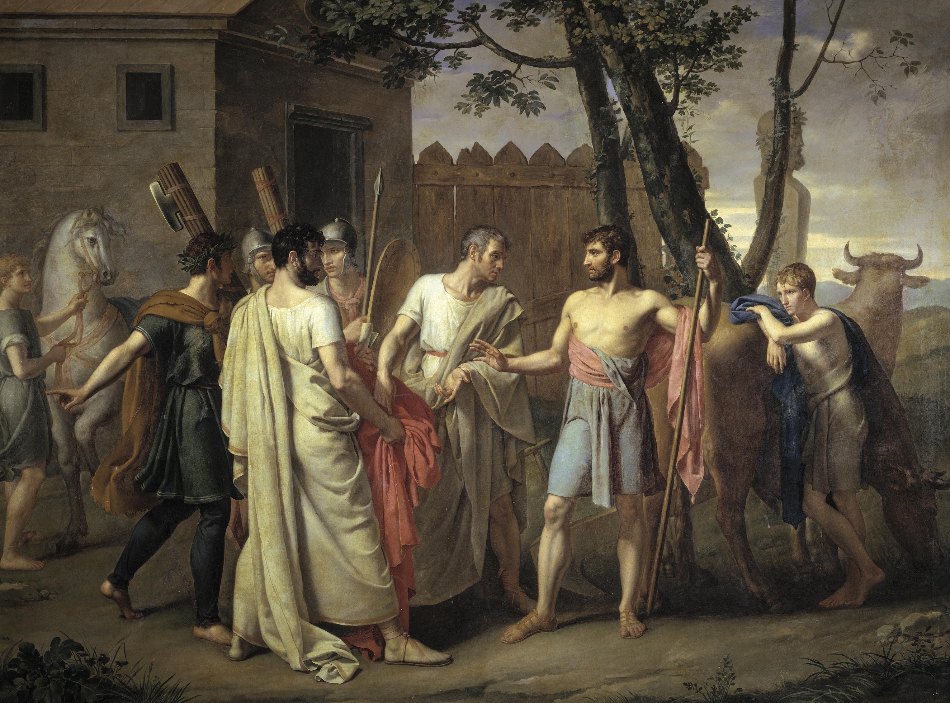[Help LCA] Aide pour l'analyse d'un personnage sur un tableau représentant Cincinnatus Juan_Antonio_Ribera_-_Cincinato_abandona_el_arado_para_dictar_leyes_a_Roma%2C_1806