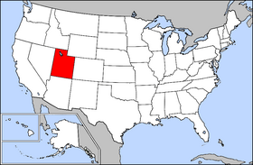Mapa ning United States with Utah highlighted