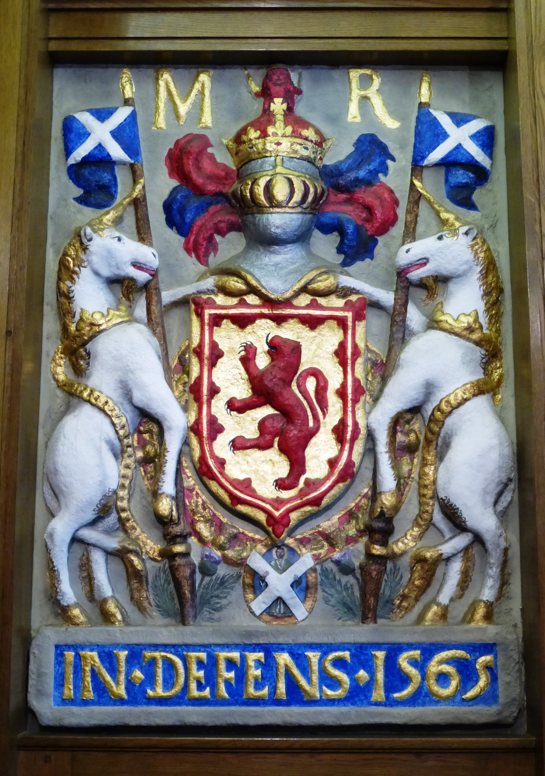 An image of Mary, Queen of Scots' coat of arms, featuring two unicorns.
