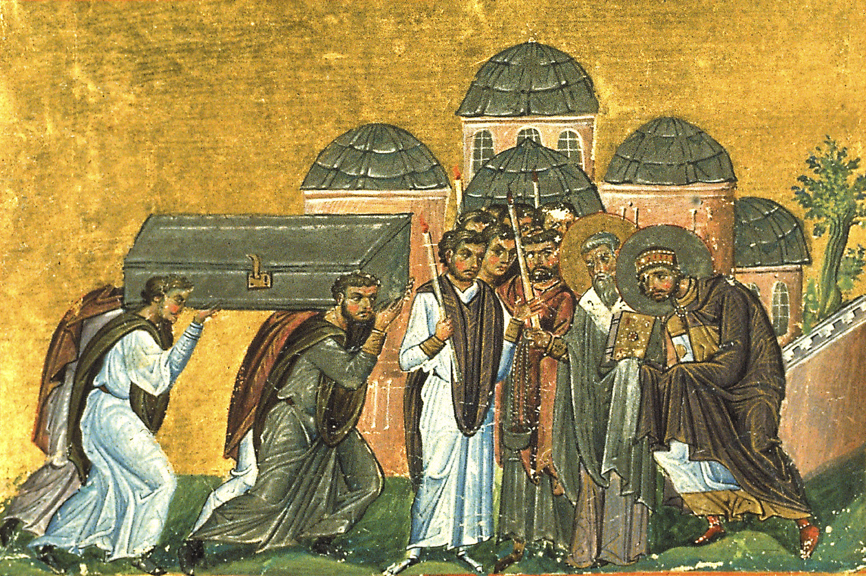 Overføring av Johannes Krysostomos' relikvier til Apostelkirken i Konstantinopel, miniatyr fra Basilios IIs menologium, Konstantinopel 985, nå i Vatikanbiblioteket i Roma