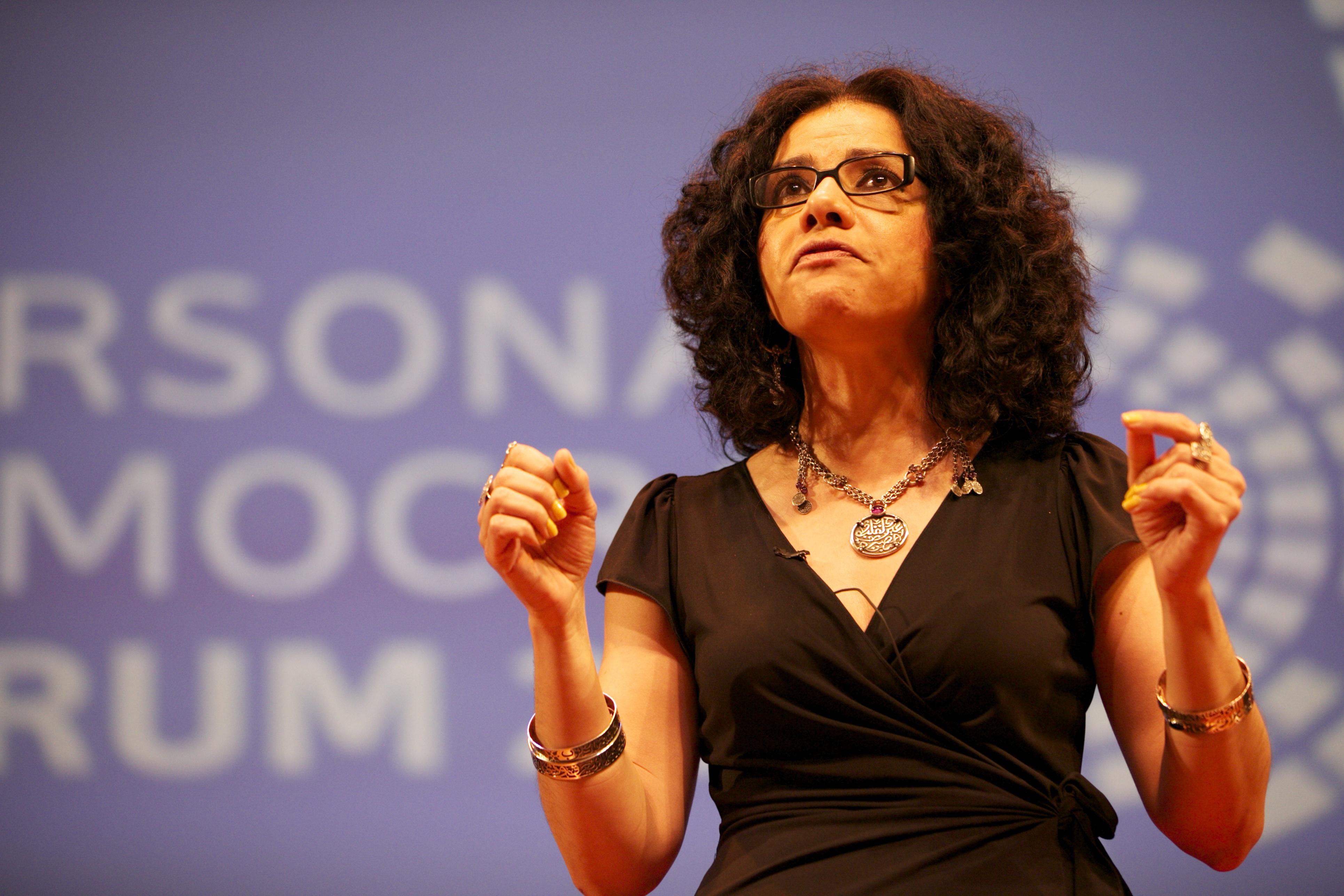 Eltahawy speaking at the 2011 [[Personal Democracy Forum]]